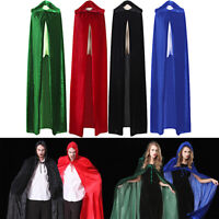 HOT Halloween Fancy Dress Hooded Velvet Cloak Robe Cape Costume Unisex Men Women