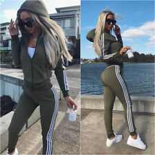 Womens Stripe Zipper Hooded Hoodie Top Pants Jogging Tracksuit Set Gym 2Pcs Suit