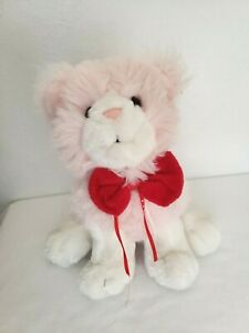 Commonwealth Cat Plush Stuffed Animal Pink White Red Bow Sitting Long Hair