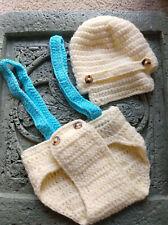 Baby Crochet set,tan Boy Newborn Hat Suspenders Diaper Cover Photo Prop,