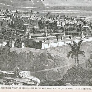 Picture of OLD JERUSALEM from the mountain view - 1886 engraving