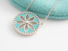 Tiffany & Co Silver MINT NEW RARE Blue Daisy Flower Enamel Pendant Necklace!