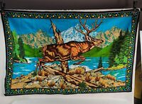 "Vintage Deer Stag Cabin Decor Tapestry Made In Turkey large 55"" X 35"