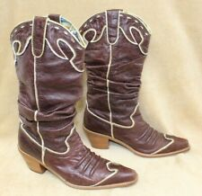 Nana Fashion Boots Brown Leather Metallic Gold Trim France Fabric Lined SZ 9 #hl