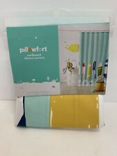 Fabric Shower Curtain Surfboard Design Aqua White Blue Pillowfort