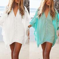 Women Lace Crochet Bikini Cover-Up Swimwear Bathing Suit Summer Beach Mini Dress