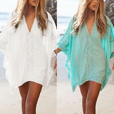 Womens Solid Cover Up Kaftan Mini Dress V Neck Beachwear Swimwear Beach Bikini