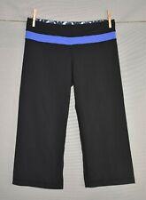 LULULEMON $86 Black Blue Groove Crop Workout Yoga Pant Size 8