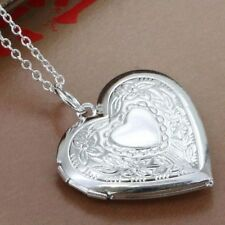 925 Silver Plt Flower Patterned Love Heart Photo Locket Big Pendant Necklace