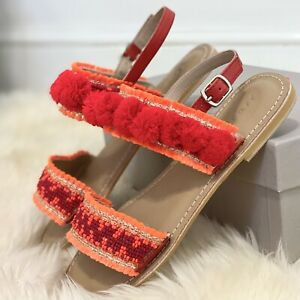 Jigsaw Minna Bead Embellished Pom Sandals, Coral Red Size 3 (Eur 36) RRP £70