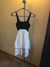 cancun style linen black and white dress  sleeveless size small