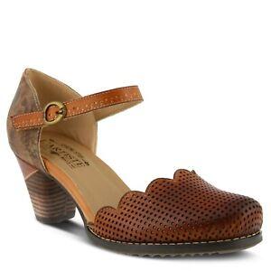 L'Artiste Parchelle Women's Camel Hand painted perforated leather shoe Eur 42