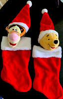 Set Of 2 Vintage Winnie The Pooh Plush Christmas Stockings Tigger And Pooh 3D
