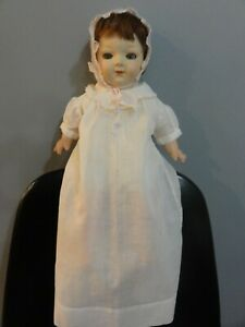 EARLY ANTIQUE TIN HEAD & EYES DOLL COMPOSITION & CLOTH BODY VINTAGE DRESS A++