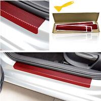 4 Pcs Carbon Fiber Look Auto Türschwelle Scuff Plate Aufkleber Anti-Scratch Rot
