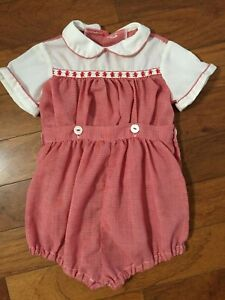 Ance K Vintage Baby Toddler Suit Button On 2 Piece Red Large