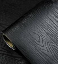 Black Wood Grain Contact Paper Peel Stick Wallpaper Self Adhesive Vinyl Wrap