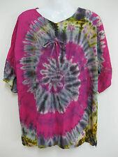 New Plus Size Tie Dye Top Poncho T Shirt Hippie Gypsy Spiral Batik Umbella Boho