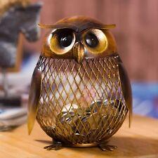 Piggy Bank Owl Coin Money Vintage Gift Metal Home Decoration Cash Decor Figurine