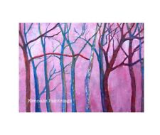 """Trees In The Pink Mist Original Acrylic Painting 5""""x7"""" Canvas Panel Artwork"""