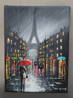 ORIGINAL ROMANTIC OIL PAINTING PETE RUMNEY 'A RAINY DAY IN PARIS' EIFFEL TOWER