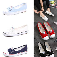 Womens Summer Casual Canvas Shoes Pumps Slip On Flat Lace Up Loafers Ladies