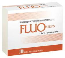 100 Fluo Strips Fluorescein Sodium Ophthalmic 1mg Strips U.S.P bio glo Fluorets