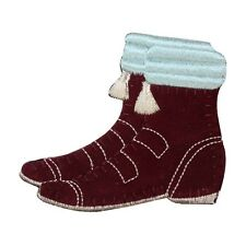 ID 8521 Felt Winter Boots Patch Snow Shoe Fuzzy Embroidered Iron On Applique