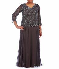 J Kara Plus Size Beaded V-Neck Gown Sz 16W - $309