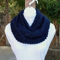 Dark Navy Blue Long INFINITY SCARF LOOP COWL Soft Handmade Crochet Knit Circle