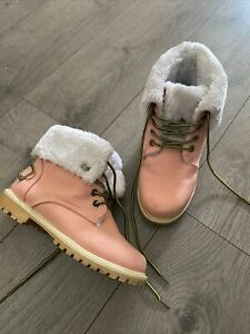 Pink Fluffy Top Caterpillar Style Boots 4