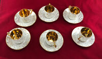 Set of Six (6) Limoges Demitasse Cup & Saucer Gold and White excellent cond