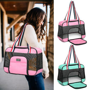 Dog Carrier Bag Pet Cat Tote Breathable Soft Sided Travel Oxford Carry Pink S M