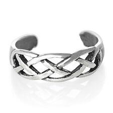 Silver Toe Ring Half Finger Open Knuckle Adjustable 925 Sterling Open Weave