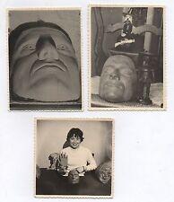 PHOTO Lot 3 photos Vers 1960 Tête Curiosité Étrange Masque Main Terre Sculpture