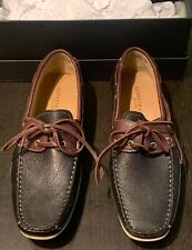 "Kenneth Cole Men's ""On The List"" Black/Brown Leather Boat Shoes Size 10.5 New"