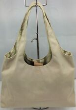 Fossil Genuine Purse Canvas Beige Medium Small Tote Bag Purse Rainbow Inside