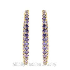 14K Yellow Gold 2 Inch Purple Amethyst Hoop Earrings