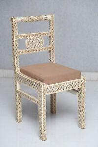 Handmade Indian Camel Bone Inlay Modern Antique Wooden Furniture Chair