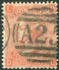 More details for 1865-67 4d vermilion plate 12 used in malta sg 93 fine used v86217