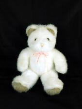 "Gund White Teddy Bear 1986 Brown Ears & Feet Plush Stuffed Animal 12"" Excellent"