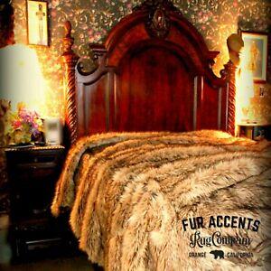 Plush Faux Fur Bedspread, Throw Blanket, Comforter, Light Wolf, Minky Lining USA