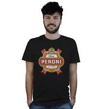 T-Shirt Peroni, maglietta nera con logo Birra Italiana, The real italian Beer