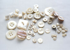 Vintage Mother Of Pearl Buttons 50 Pieces Sets Carved Victorian Art Deco & Later