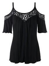 Women Plus Size Tops Cold Shoulder Lace Insert Half Sleeve Blouse T-Shirt Solid