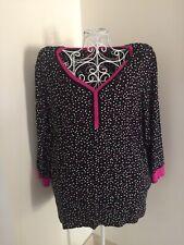 Kenzie Women's XXL Pajama Top, Black Polka Dot Pink