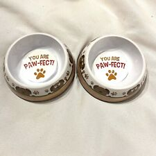 you are paw fect set of 2 mini / small dog food & water dishes
