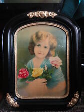 Girl Child Photo with Roses Wooden Black & Gold Frame 14.5 x 18.5 Vintage