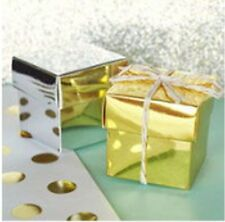 12 Metallic Gold Cube Wedding Bridal Shower Favor Boxes Favors Q19517