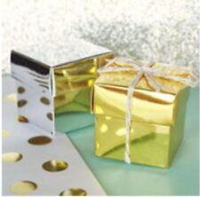 12 Metallic Gold Cube Wedding Bridal Shower Favor Boxes Favors Q19517
